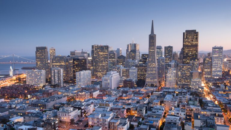 Panoramic view of San Francisco Financial District, Fall 2015.