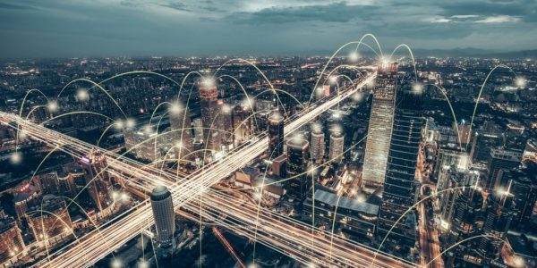 Abstract network in hands as metaphor for Open Banking is here to stay