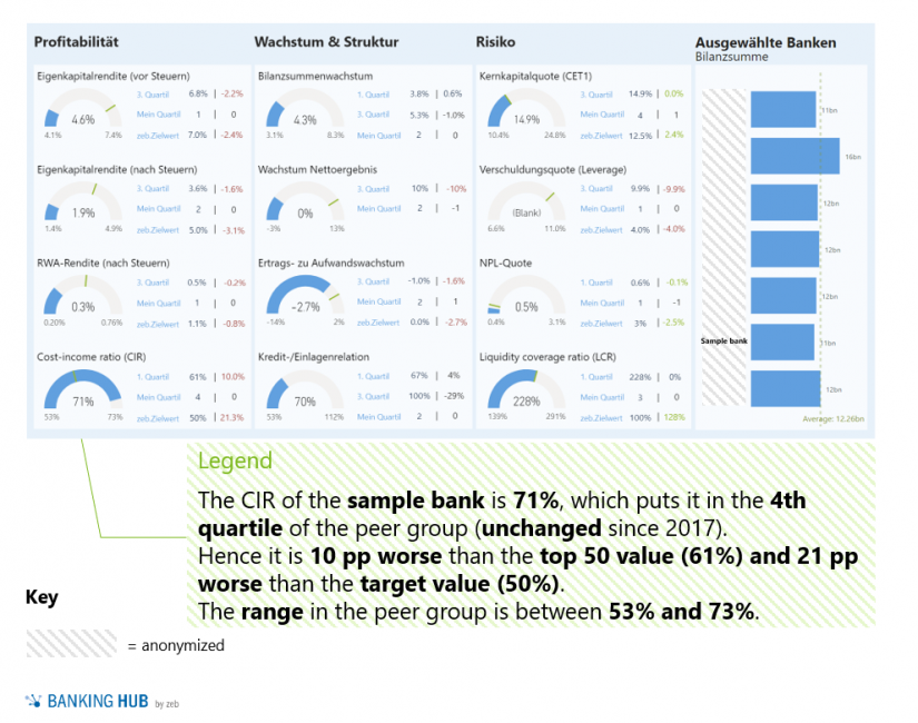"""Exemplary dashboard for key financial and risk KPIs in the article """"SREP guidelines require comparisons with competitors"""""""