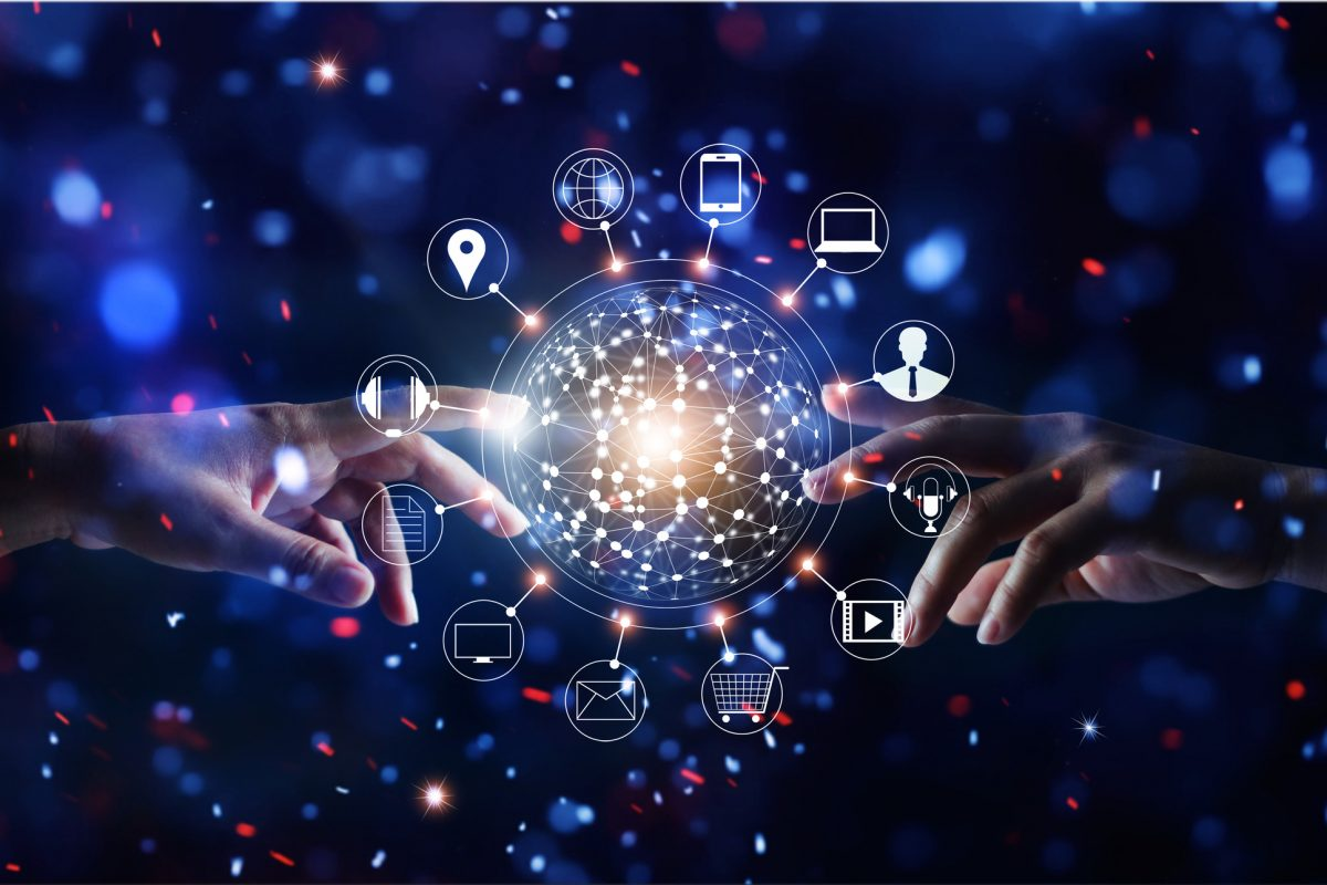 "Hands touching global connection and icon customer networking data exchanges on glitter bright lights colorful background as metaphor for ""Omnichannel Management Matters"""