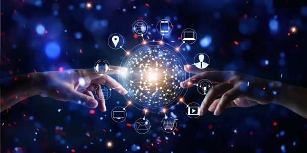 """Hands touching global connection and icon customer networking data exchanges on glitter bright lights colorful background as metaphor for """"Omnichannel Management Matters"""""""