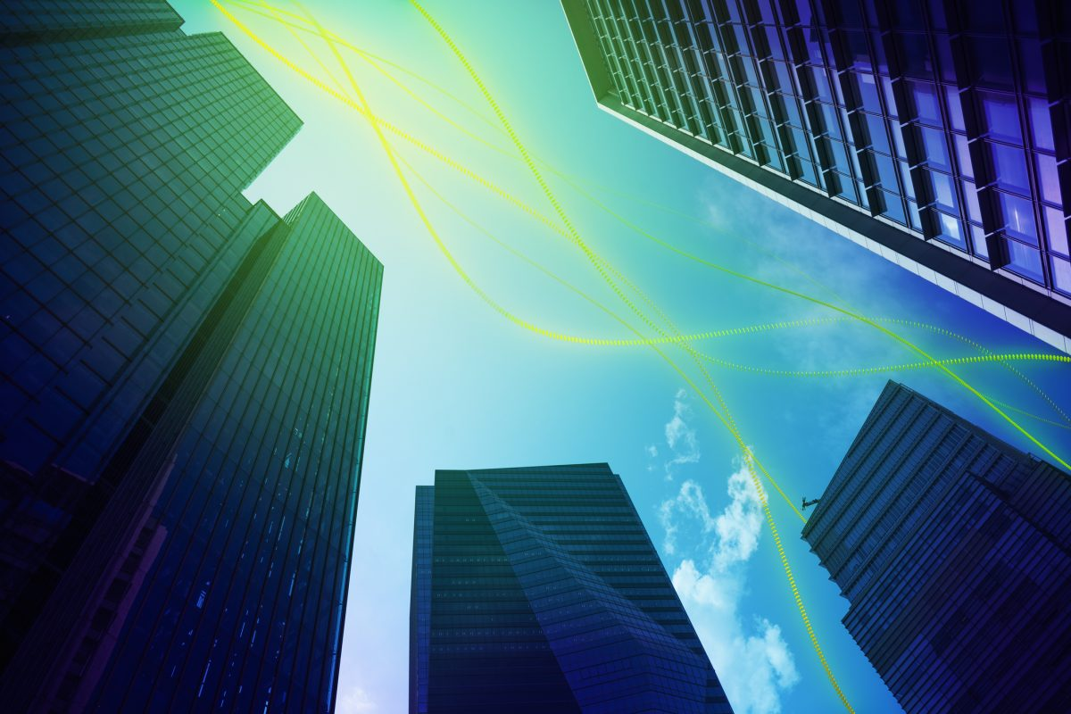 """Cityscape with abstract light trail as metaphor for """"BIRD 5.0 – Opportunity for FinTechs and neobanks"""""""