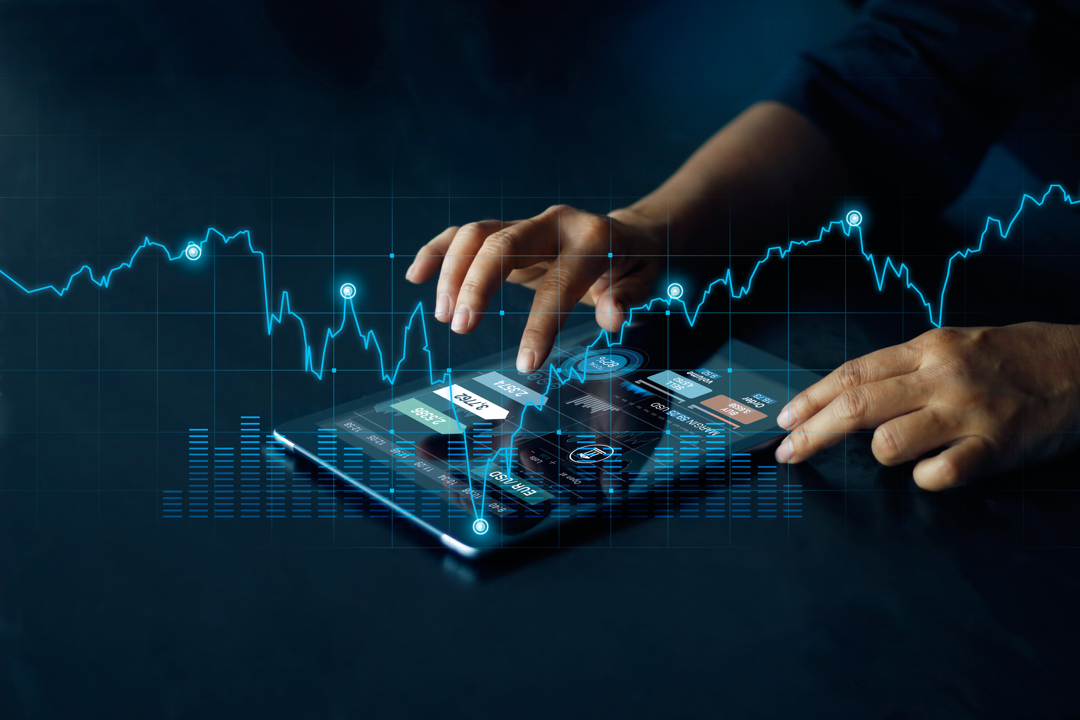 """Tablet screen shows currency rate as metaphor for the article """"Digital assets – capturing the attention of institutional investors"""""""